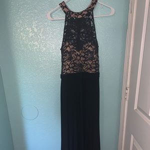 Navy blue with nude long dress